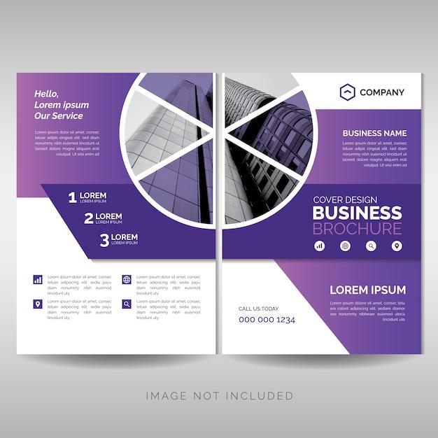 Modelo de folheto moderno negócio roxo Vetor Premium