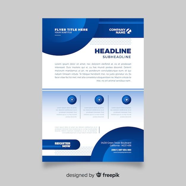 Modelo de folheto - negócio abstrato azul Vetor grátis