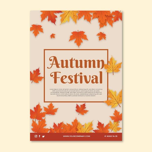 Modelo de folheto no meio do outono Vetor grátis