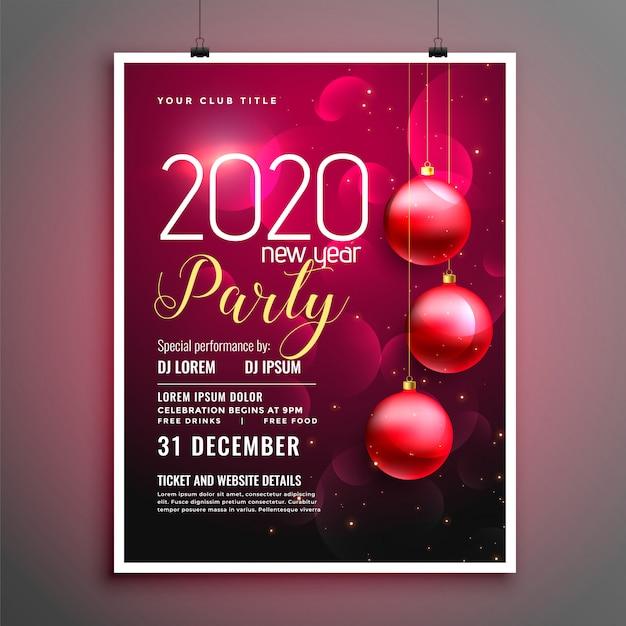 Modelo de folheto ou cartaz de festa de ano novo 2020 Vetor grátis