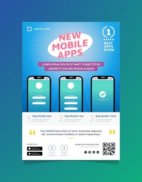 Modelo de folheto - promo de aplicativos móveis Vetor Premium