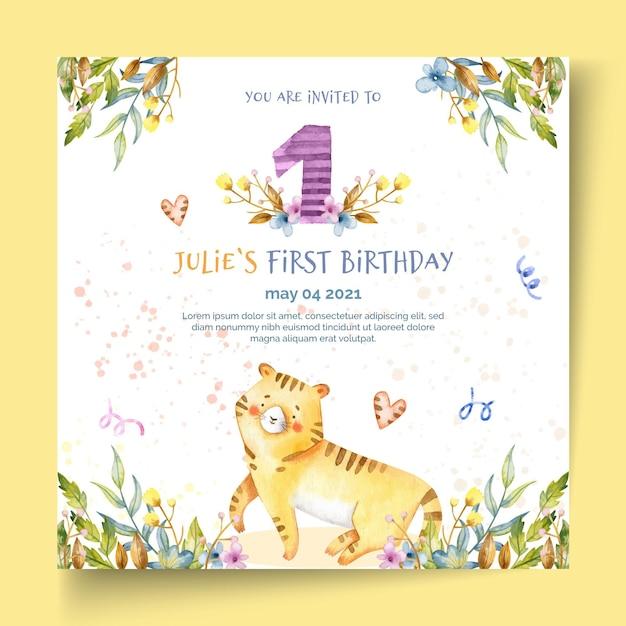 Modelo de folheto quadrado de aniversário infantil Vetor Premium