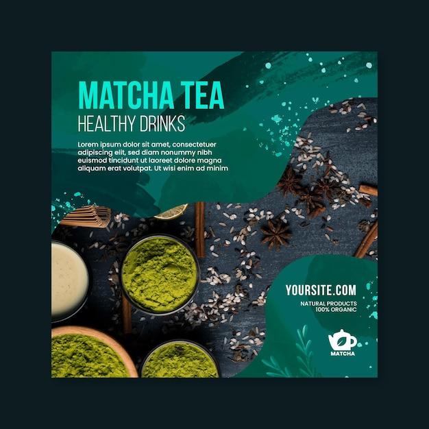 Modelo de folheto quadrado de chá matcha Vetor Premium