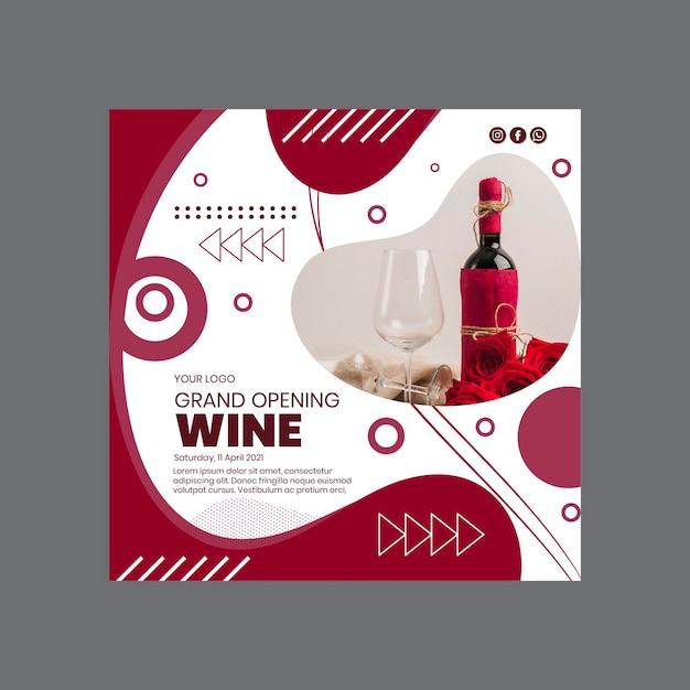 Modelo de folheto quadrado de inauguração do vinho Vetor grátis