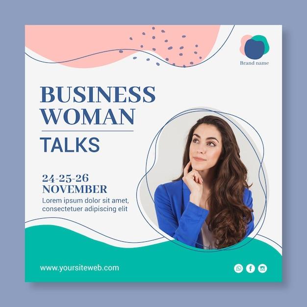 Modelo de folheto quadrado de mulher de negócios Vetor Premium