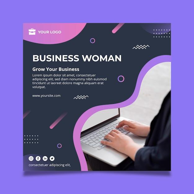 Modelo de folheto quadrado de mulher de negócios Vetor grátis