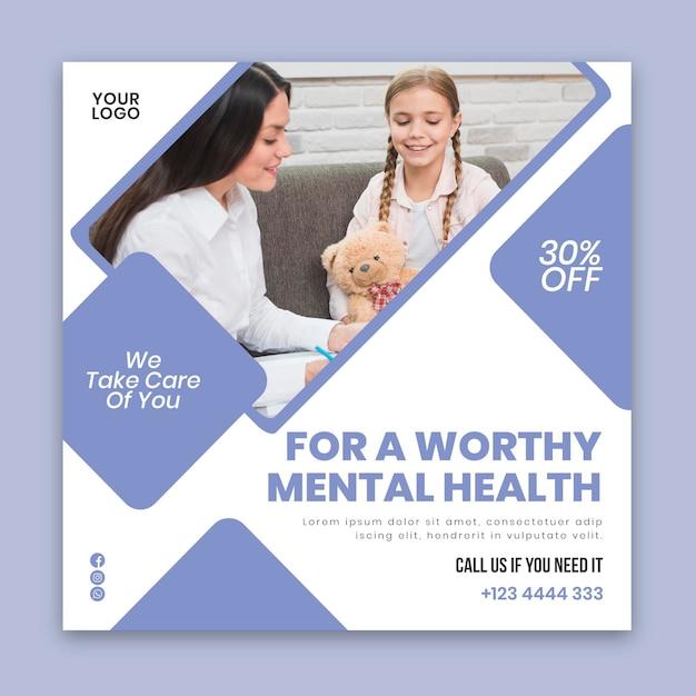 Modelo de folheto quadrado de psicologia clínica Vetor Premium