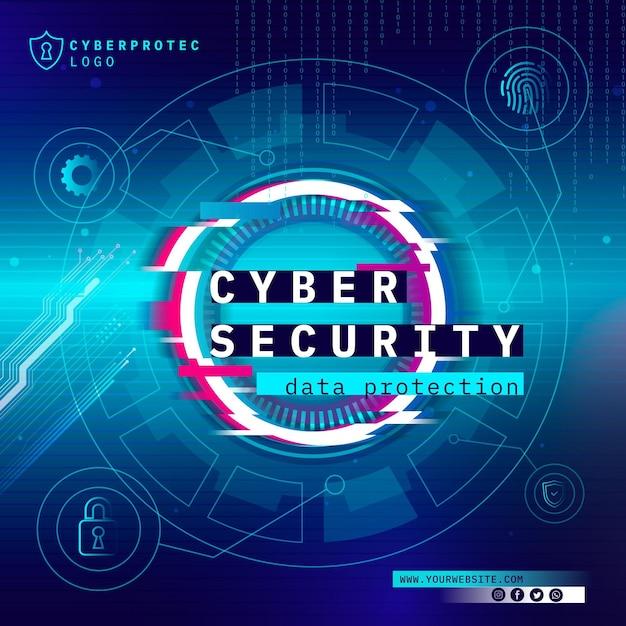 Modelo de folheto quadrado de segurança cibernética Vetor grátis