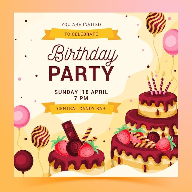 Modelo de folheto quadrado para festa de aniversário Vetor Premium
