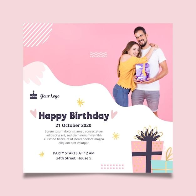 Modelo de folheto quadrado para festa de aniversário Vetor grátis