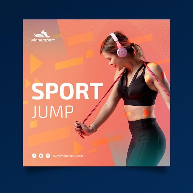 Modelo de folheto quadrado para fitness ginásio Vetor grátis