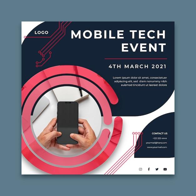 Modelo de folheto quadrado para tecnologia digital Vetor Premium