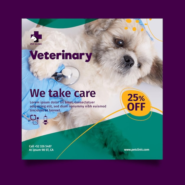 Modelo de folheto quadrado veterinário com foto Vetor Premium
