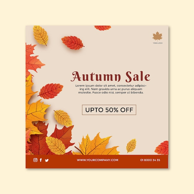 Modelo de folheto quadriculado do meio do outono Vetor grátis