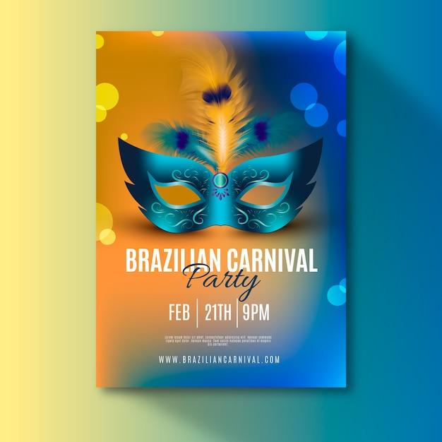 Modelo de folheto realista carnaval brasileiro Vetor grátis