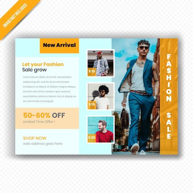 Modelo de folheto - venda de moda horizontal Vetor Premium