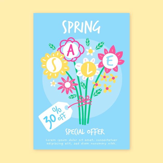 Modelo de folheto - venda de primavera desenhados à mão Vetor grátis