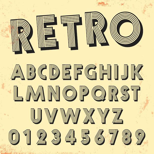 Modelo de fonte de linha retrô. conjunto de design de linhas vintage letras e números. Vetor Premium