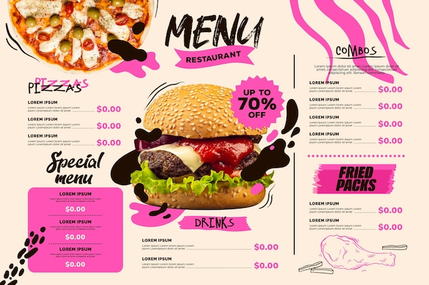 Modelo de formato horizontal de menu de restaurante digital com pizza e hambúrguer Vetor grátis