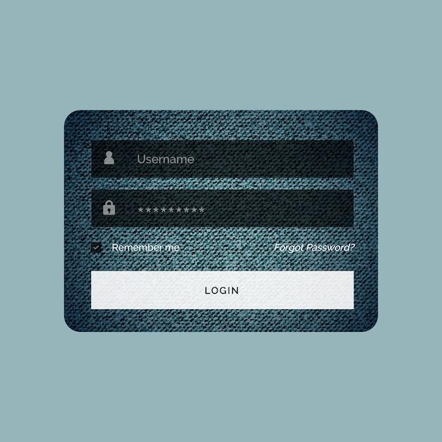 Modelo de formulário de login no estilo de textura de jeans Vetor grátis