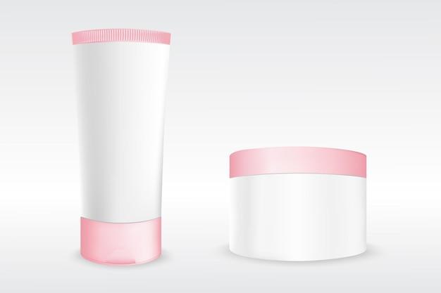 Modelo de frasco de creme para produtos de beleza cosméticos Vetor Premium