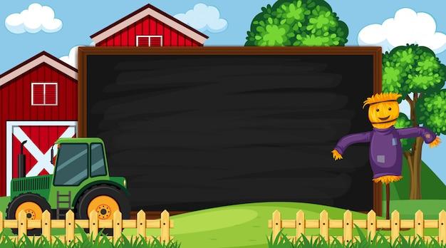 Modelo de fronteira com cena de fazenda Vetor Premium