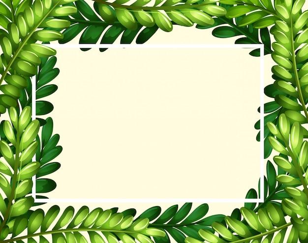 Modelo de fronteira com folhas verdes Vetor grátis
