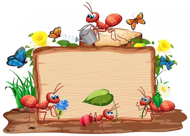 Modelo de fronteira com insetos no fundo do jardim Vetor Premium
