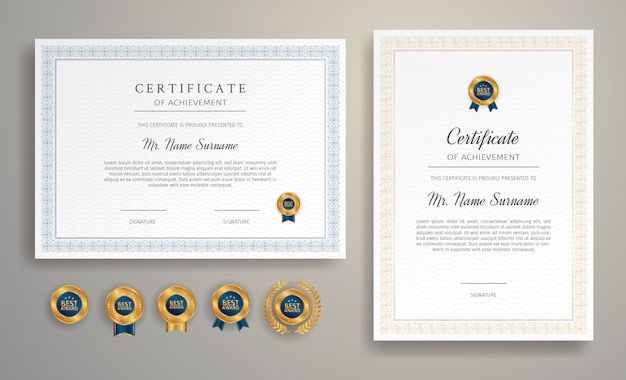 Modelo de fronteira de certificado com emblemas e cores de luxo Vetor Premium