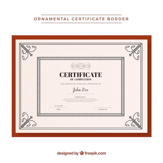 Modelo de fronteira de certificado ornamental Vetor grátis