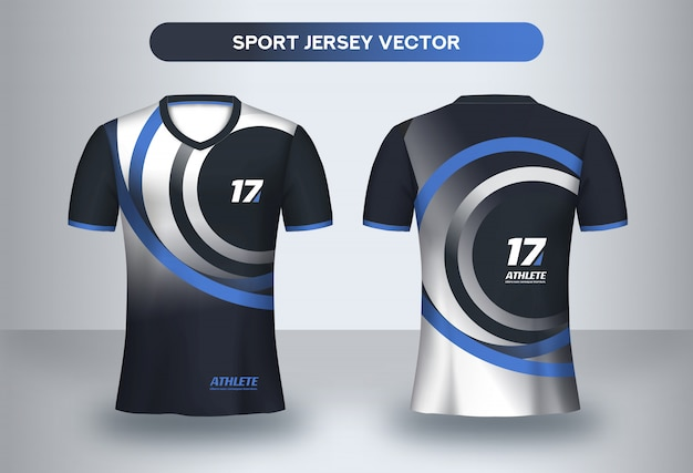 Modelo de futebol jsersey, futebol clube uniforme t-shirt vista frontal e traseira. Vetor Premium