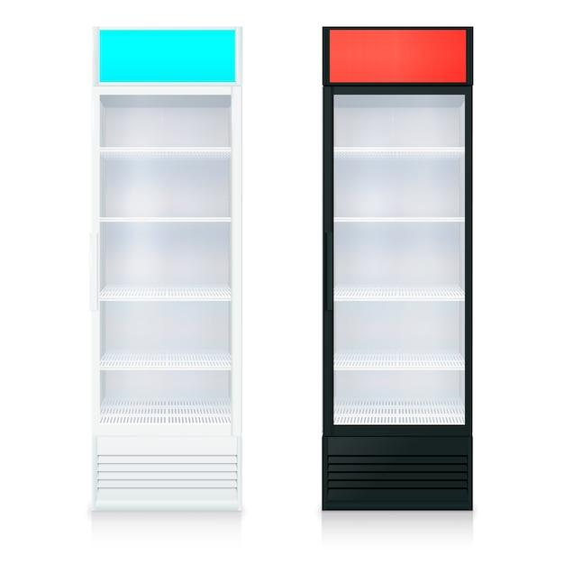Modelo de geladeiras vazias na posição vertical com porta de vidro e prateleiras Vetor grátis