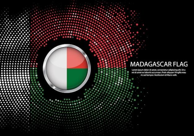 Modelo de gradiente de fundo de meio-tom da bandeira de madagascar. Vetor Premium