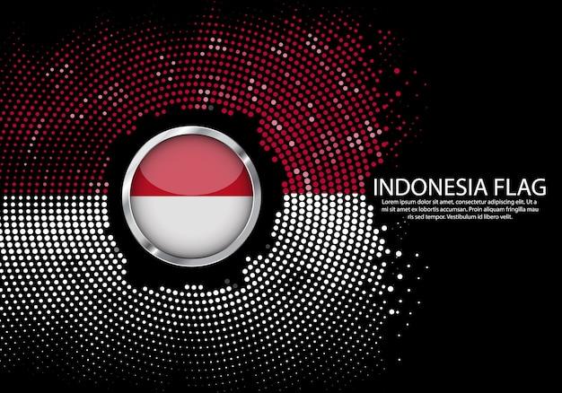 Modelo de gradiente de meio-tom de fundo da bandeira da indonésia. Vetor Premium
