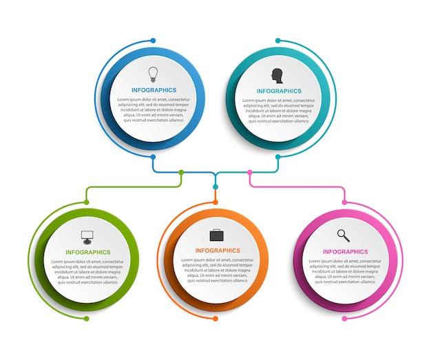 Modelo de gráfico de organização infográfico. Vetor Premium