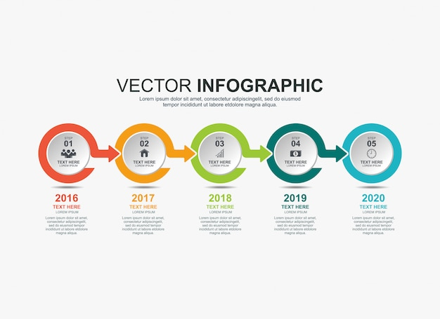 Modelo de gráfico de processo de cronograma de elementos infográfico Vetor Premium