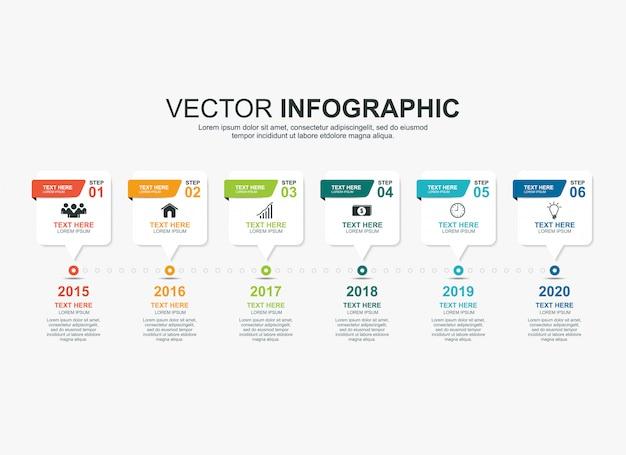 Modelo de gráfico de processo de cronograma infográfico Vetor Premium