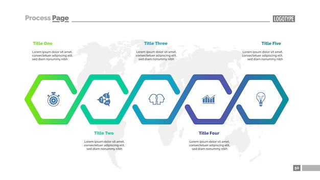Modelo de gráfico de processo de fluxo de trabalho de cinco etapas. visualização de dados corporativos. Vetor grátis