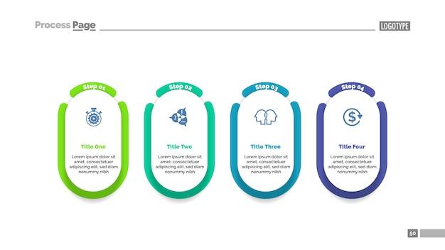 Modelo de gráfico de processo de projeto de quatro etapas para apresentação. Vetor grátis
