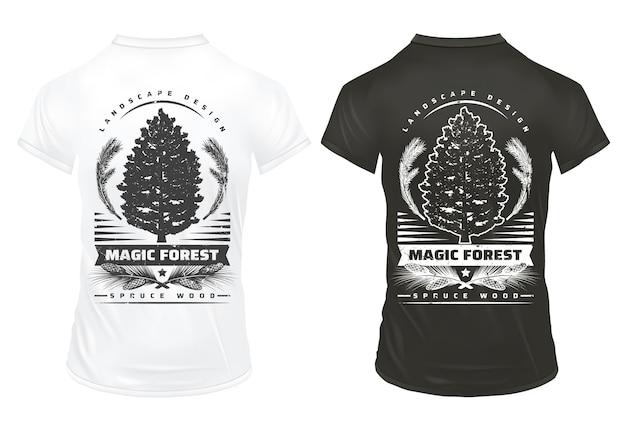 Modelo de gravuras vintage de coníferas com inscrições cones de galhos de árvores de abeto em camisas pretas e brancas isoladas Vetor grátis