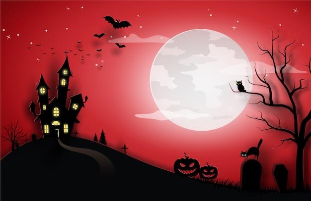 Modelo de halloween vermelho na visão do céu noturno com gato, abóbora, castelo e lua cheia. Vetor Premium