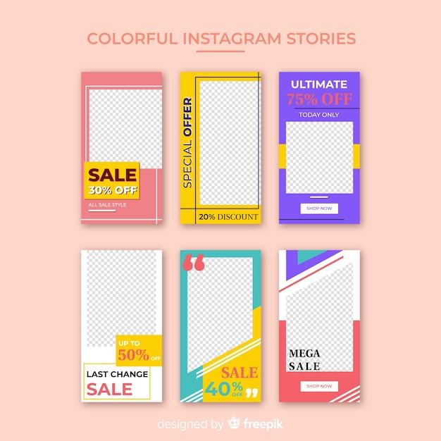 Modelo de histórias coloridas do instagram Vetor grátis