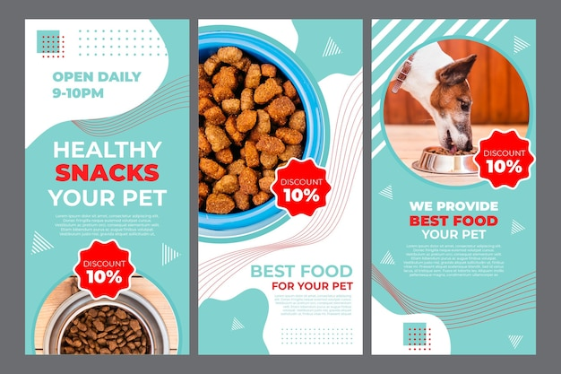 Modelo de histórias de instagram de pet food com foto Vetor Premium