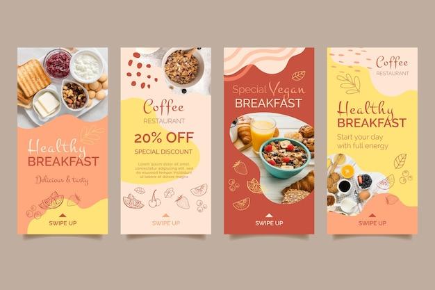 Modelo de histórias de mídia social de café da manhã saudável Vetor grátis