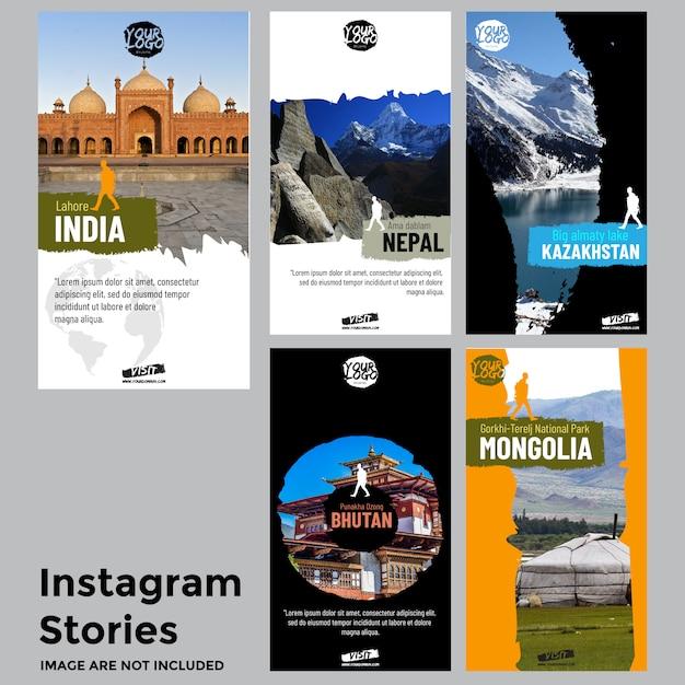 Modelo de histórias de mídias sociais de viagens Vetor Premium