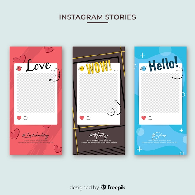 Modelo de histórias do instagram com moldura vazia Vetor grátis