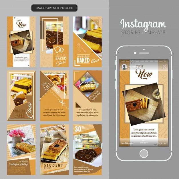 Modelo de histórias do instagram de bolo Vetor Premium