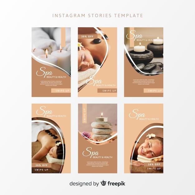 Modelo de histórias do instagram spa Vetor grátis