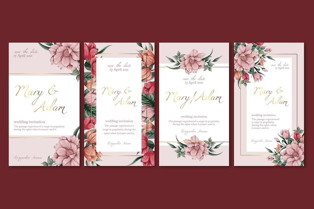 Modelo de histórias instagram de casamento floral Vetor Premium