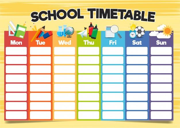 Modelo de horário escolar, um projeto curricular semanal Vetor Premium